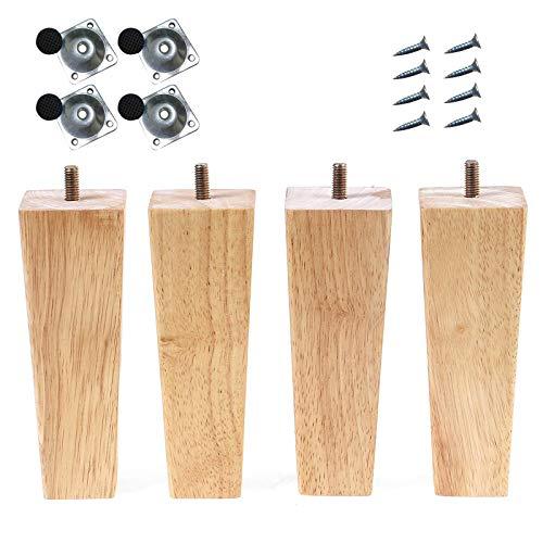 Honeyhouse Holz Sofafüße 4 Stück, 6cm/10cm/15cm Ersatz Möbelfüße mit Montageplatten & Schrauben für Sofa Bett Schrank Couch Ottomane