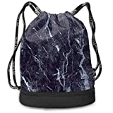 zhangyuB Polyester Bolsa con cordón Theft Proof Waterproof Large Cinch Sackpack Large Capacity For Basketball, Volleyball, Baseball, Sports & Workout Gear (Darkblue Marble Texture)