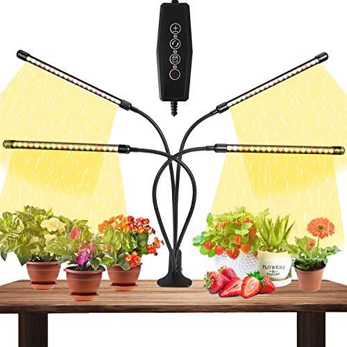 Lámpara de Planta, MATEHOM Lámpara LED Cultivo de 4 Cabezales de Espectro Completo con 80 LED, Luz para Plantas de 10 Niveles Regulable y 360°Ajuste con Función de Temporizador, para Jardinería Bonsai