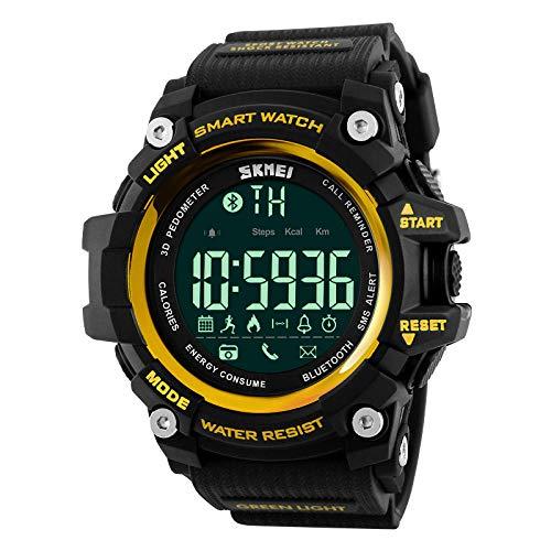 TWCAM Acero Cuero Pulsera Hombre- Mire El Reloj Deportivo De Los Hombres Al Aire Libre Reloj Electrónico De Doble Pantalla Luminoso, Versión Inteligente De Oro