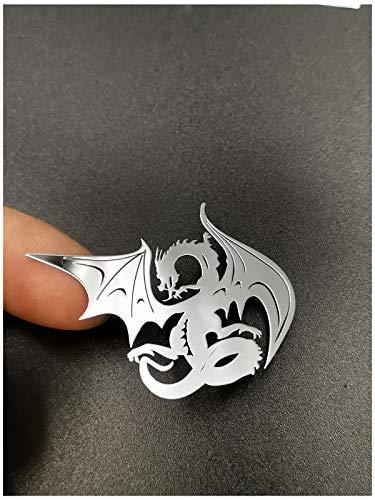 Wallner 18K Gold Plated 2 pcs Metal Adhesive Dragon Badge Chrome Decal Logo Vinyl Sticker Cellphone Decal Stickers for Laptop Cellphone car Window IPAD or Helmet (Silver, A1)