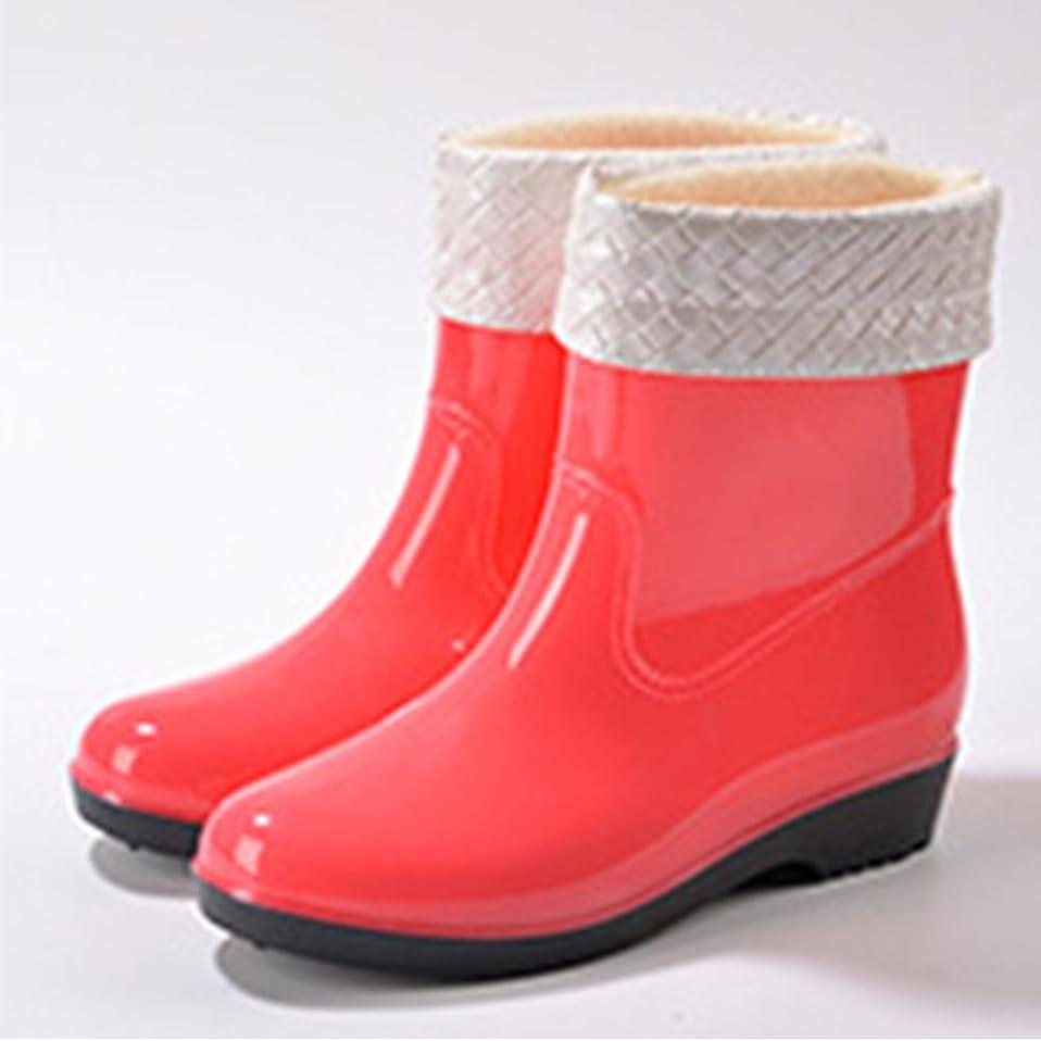 社員狼ニッケル[Tsmine] 長靴 by レディース 柔らかいゴム&滑り防止 雨&雪用 子供っぽい大人の長靴 明るいカラー 冬用もこもこカバー付属