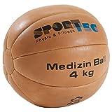Medizinball Fitnessball Gewichtsball Rehaball aus Echtem Leder 28 cm, 4 kg
