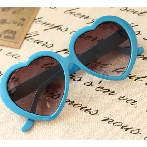 Nouveau cœur d'amour style cadre plastique lentilles rétros lunettes de soleil(Blue clair)