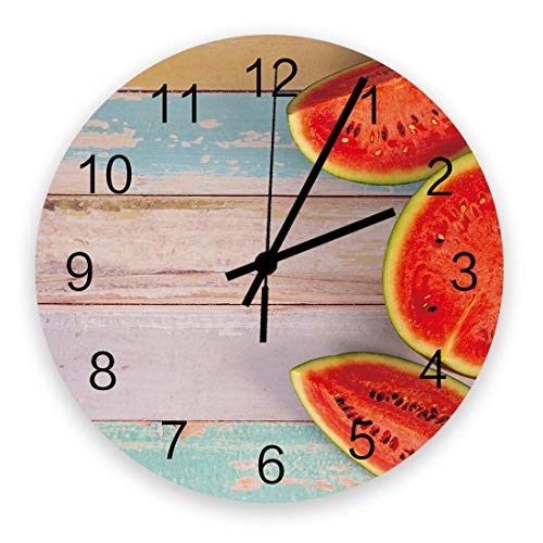 Decoración del hogar Reloj redondo de madera de 10 pulgadas, frutas de sandía de verano, números arábigos silenciosos que no hacen tictac, reloj que funciona con pilas, decoración de pared para sala d