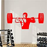 Gewichtheben Mann Kunst Wandtattoo Fitness Zug Kunst Fitnessstudio Wandaufkleber Vinyl Sport...