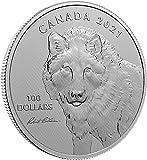Power Coin Wolf Sketch by Robert Bateman 10 Oz Moneda Plata 100$ Canada 2021
