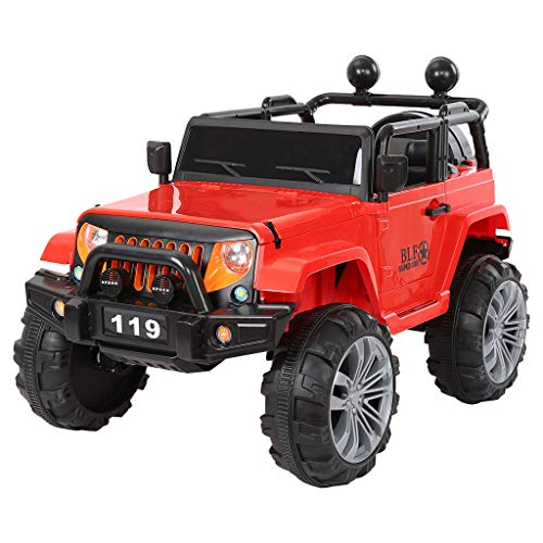 Kids Electric car 24v Off-Road Truck Manned Children Ride-On Car with LED Light, Power Wheels Trucks Toys for Boys Girls (red)