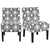 YAHEETECH Armless Accent Chairs for Living Room Fabric Slipper Chair Modern Corner Side Chair Single Sofa Dining Chair with Solid Rubberwood Legs Set of 2