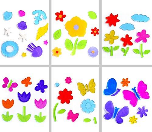 Chnaivy 6 Blatt Gel-Fensterdekorationen für Kinder, Frühlingsblumen, Insekten, Gelee-Aufkleber für Kühlschränke, Fenster, Heimdekoration