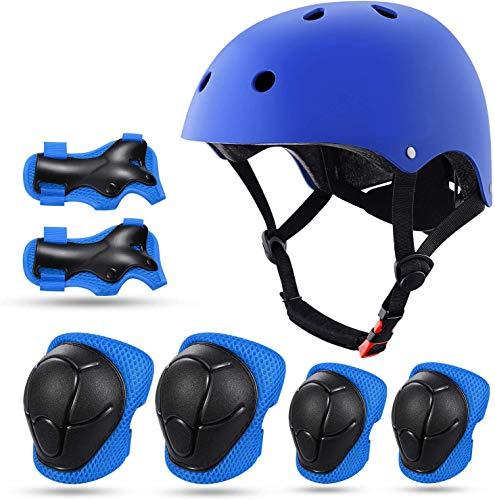 Schoner Set Protektoren Set Schutzausrüstung Set Fahrradhelm Knieschoner Ellenbogenschoner Handgelenkschutz für Kinderroller Skateboard Radfahren 3-13 Jahres Kinder (Blau)