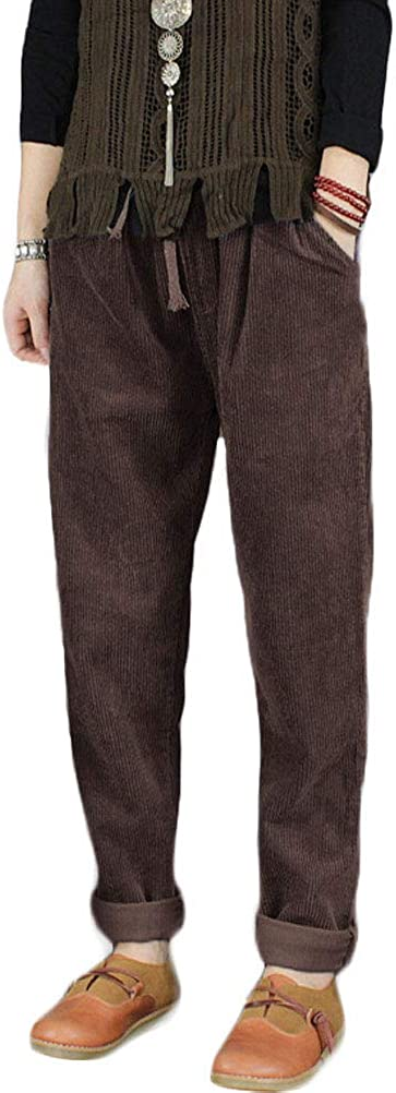 Minibee Women's Casual Corduroy Pants Comfy Pull on Elastic Waist Trousers Drawstring Cotton Pants