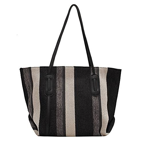 Las mujeres rayas impresión hombro bolsa de compras grandes bolsos, Black, 33 EU