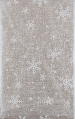 Mainstream Christmas Snowflakes Delight Vinyl Flannel Back Tablecloth (Silver, 52' x 90' Oblong)