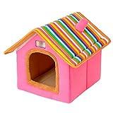 LvRao Pet Cuccia a Casa Letto Pieghevole Cuccia con Cuscino per Cani Gatti Morbido Caldo Divano Lettino Cestino per Cane (Rosa, M)