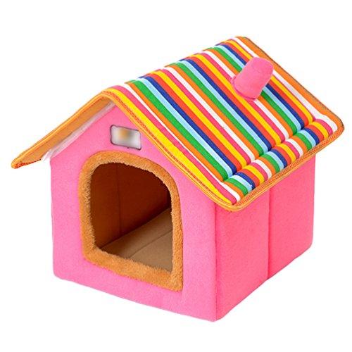 LvRao Pet Cuccia a Casa Letto Pieghevole Cuccia con Cuscino per Cani Gatti Morbido Caldo Divano Lettino Cestino per Cane (Rosa, L)
