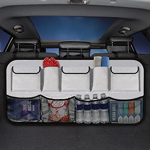 Kofferraum Organizer Auto,Kofferraumtasche Autositztasche Super Kapazität Faltbare,Autozubehör Innenraum Sitztasche Wasserdicht Taschen,mit Klett Netztaschen für Auto SUV Rücksitz clean Touring (grau)