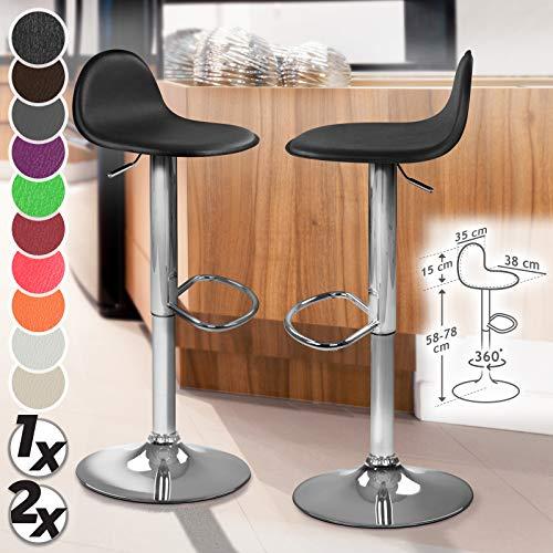 MIADOMODO Barstuhl mit Fußablage - modern, um 360° drehbar, höhenverstellbar, aus Kunstleder und Metall - Farbwahl & Setwahl - Barhocker, Tresenhocker, Tresenstuhl (Schwarz, 2er)