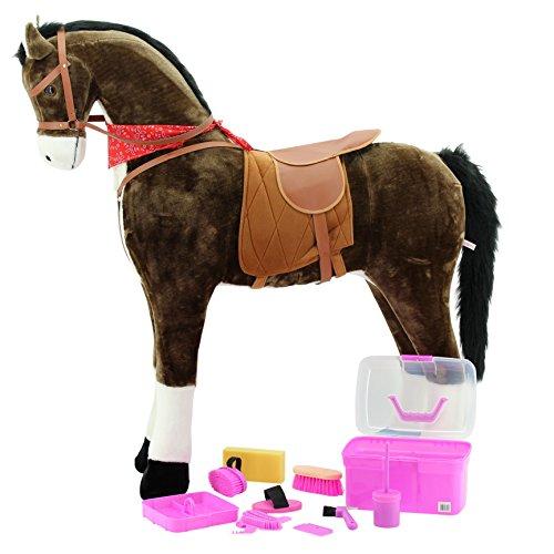XXL paard chocolade jumbo reuzenstaande paard & poetsbox roze kerf voor paarden 8 stuks Voor kinderen, giant paar, Mr.Chocolate, sweety-speelgoed, paardrijden, kleur chocolade, zeer stijlvol - met donkere manen en donker staart.