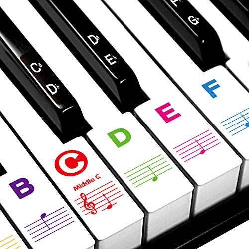 Piano Stickers for Beginners 88/76/61/54/49/37 Keys - Transparent, Removable, Big Letters Piano Keyboard Stickers - Perfect for Kids, Easy to Install with Cleaning Cloth