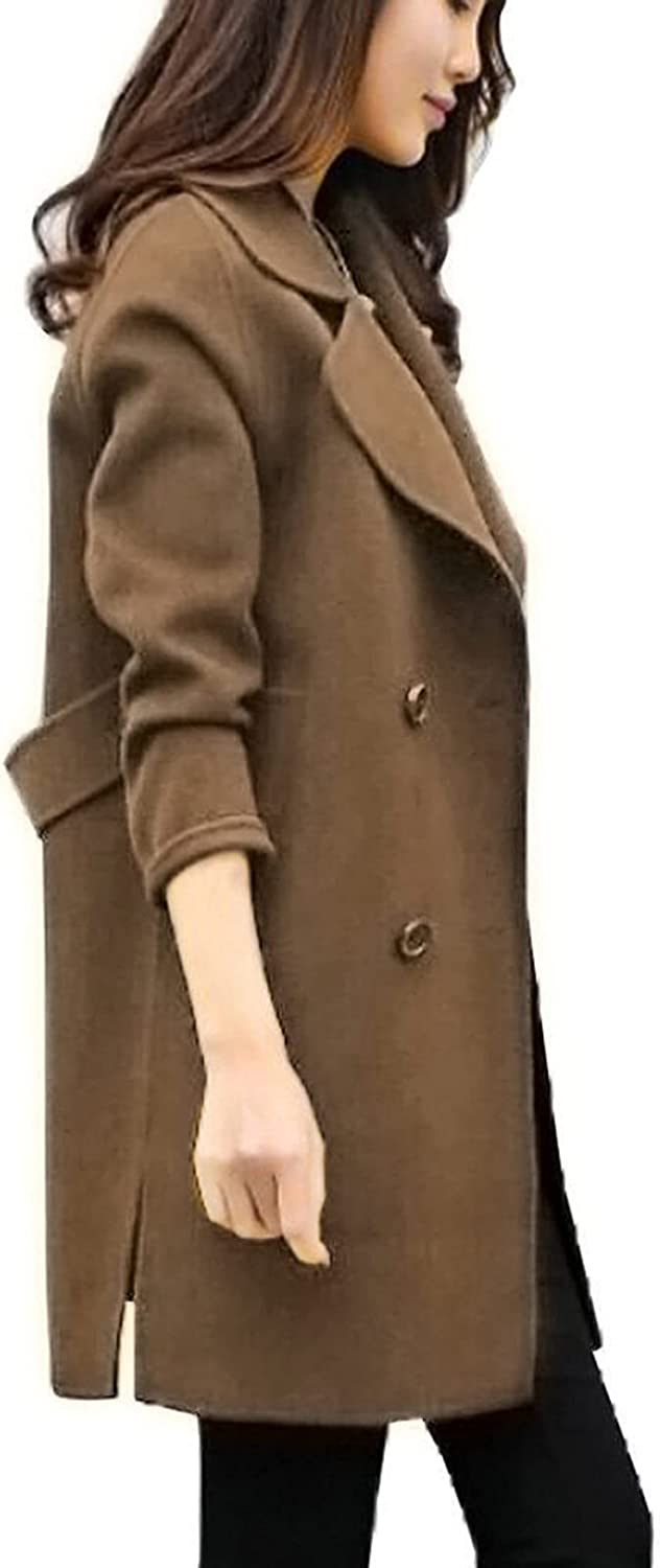 ManxiVoo Women's Notched Lapel Classic Slim Fit Double Breasted Trench Coat Lapel Mid-Long Wool Blend Coat