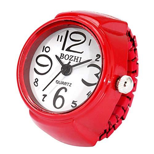 Reloj de anillo de color caramelo vibrante para adultos, rojo elástico anillo relojes para niños, reloj elegante con números árabes para niñas