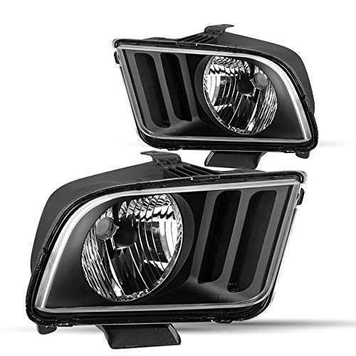 2Pcs Headlamps Fit For 2005-2009 Ford Mustang Headlight Assembly Replacement , Driving side and Passenger side (Black Housing)
