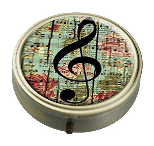 Preisvergleich Produktbild RUNDO Vintage Flower auf Holz Klavier Note Tabelle Individuelle Bronze Rund Pillendose Wallet Travel Kit Dekorative Box Vitamin Schutz Box