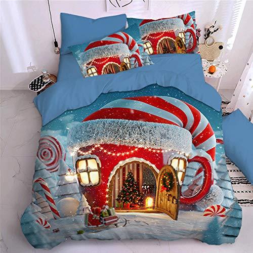geek cook Bedding 4 piece comforter,Christmas bedding four-piece set of student dormitory sheets duvet cover Santa Claus children cartoon three-piece set-Christmas 10_1.5m (5 feet) sheet type