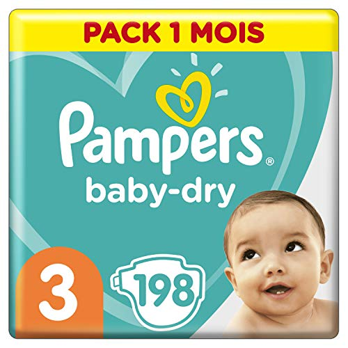 Pampers Baby Dry Couches Taille 3 (6-10 kg), 198 couches, Pack 1 Mois