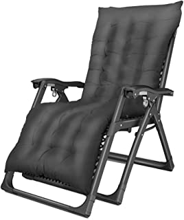 JLN-lounge chair Zero Gravity Chairs with Cup Holder Trays and Cushion Folding Outdoor Yard Porch Recliner Black Load 200kg