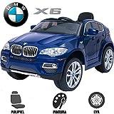 Babycoches Voiture électrique monoplace pour enfant avec roues en caoutchouc et siège en cuir synthétique Modèle BMW X6...