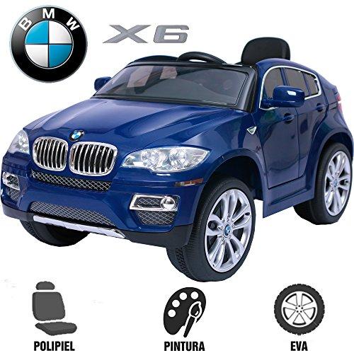 Elektroauto für Kinder BMW X6elterliche babycoches, mit Offizielles BMW, Fernbedienung, 12V, Einsitzer, Kautschuk, Sitz Kunstleder Rollen blau metallic