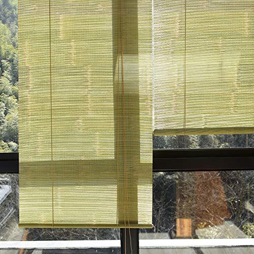 HMM Bambusrollo 90 Cm Breit Holz Rollos Für Fenster Bambus Rollo Für Outdoor Indoor Mit Zugseil/anpassbar Größe/Mit Montagezubehör/Grün