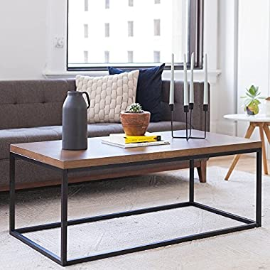 Nathan Home 31101 Doxa Solid Wood Modern Industrial Coffee Table, Black Metal Box Frame With Dark Walnut Finish