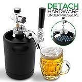 NutriChef Mini Keg Detachable Aluminum Regulator & Tap Spear Easy Storage Black Matte Powder Coated Pressurized Growler Homebrew Beer...