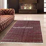 100 % handgefertigter Designer-Teppich auf traditionellen Handwebstühlen, Baumwolle, handgewebt, Quasten, für Flur, Wohnzimmer, Kinderzimmer, Küche