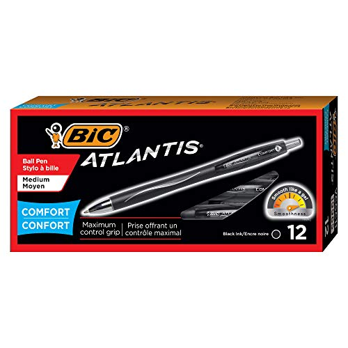 BIC VCGC11BK Atlantis Comfort Retractable Ballpoint Pen, Black Ink, 1.2mm, Medium, Dozen