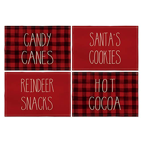 Artoid Mode Christmas Placemat for Dining Table Candy Canes Santa's Cookies Reindeer Snacks Hot Cocoa, 12 x 18 Inch Winter Holiday Rustic Washable Table Mat Set of 4