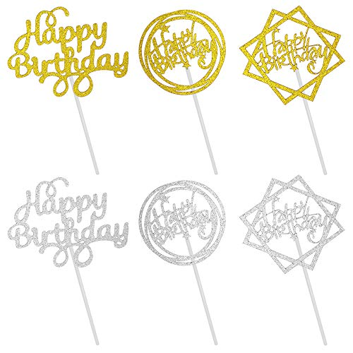 30 Pcs Happy Birthday Cake Toppers,Sonku Glitter Cupcake Topper Perfect Cake Decorations for Birthday Party-Gold,Silver