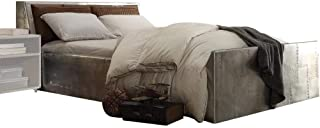 ACME Furniture AC- Bed, Queen, Retro Brown Top Grain Leather & Aluminum