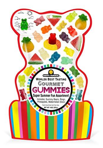 Happy Yummies Worlds Best Tasting Gourmet Gummy Candy Super Summer Fun Assortment 14oz (6 Pack)