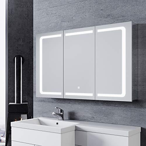 SONNI LED Spiegelschrank 105 x 65cm Spiegelschrank Bad für Badezimmer Spiegelschrank mit Beleuchtung mit Touchschalter und Steckdose