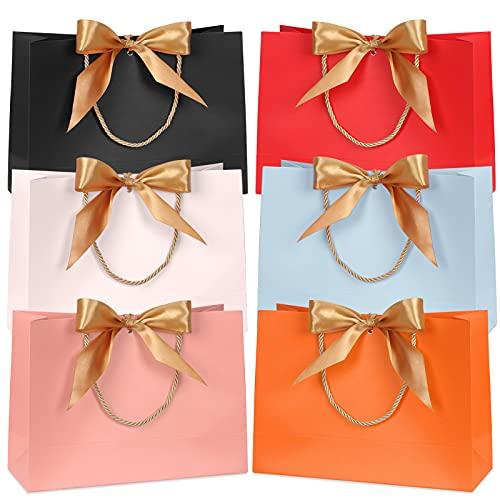FYY 6 pièces Sacs-Cadeaux, Sacs-Cadeaux en Papier coloré imperméables avec Ruban d'arc doré pour la fête de Mariage Fêtes d'anniversaire 32 x 25 x 11 cm (6 Couleurs)