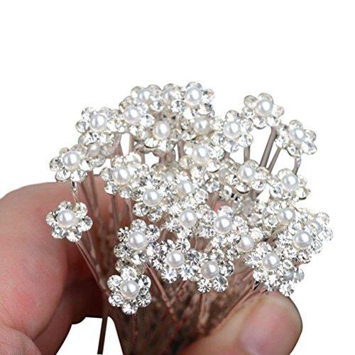 WINOMO 10pcs Haarnadeln Hochzeit Haarnadeln Perlen Strass Blumen Haarnadeln Braut Haarschmuck