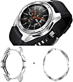 Cerike Funda+Anillo de Bisel para Samsung Galaxy Watch 42mm de Parachoques, Protector Accesorios de Marco Resistente a la compresión de TPU para Reloj Samsung Galaxy Watch 42mm (42mm, Plata/Bezel)