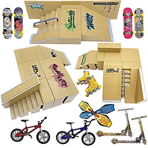 Ultimate Finger Skateboard Ramp Set 23 Pieces – Finger Skateboard Set with Skateboards, Ramps, Skates, Scooters, Bikes and Caster Boards – Finger Skatepark Kit – Skate Park Kit – Fingerboard Skate Set