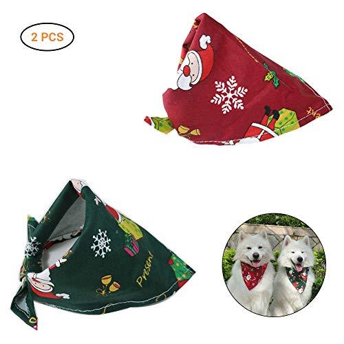 Mallalah Bandana Halsband voor honden en katten, verstelbaar, katoen, motief Kerstman, sjaal, driehoek, sympathieke accessoires voor honden en katten, rood en groen