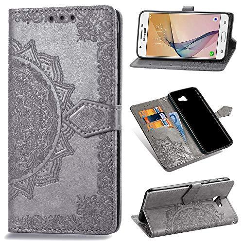 Capa carteira de couro PU para Samsung Galaxy J5 Prime com compartimento para cartão (cinza)