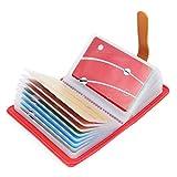 10 Colores Tarjetero para Tarjeta de Credito Cuero para Mujer Hombre - 26 Tarjetas (Sandía Rojo)